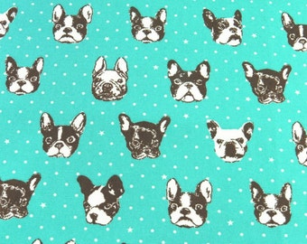2341B -- Kawaii Bulldog Faces in Medium Turquoise, Cute Dog Face Fabric and Tiny Dots, Japanese Cotton Canvas, Kokka Fabric, Made in Japan