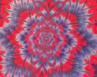 """Hand-Dyed Silk Tapestry 'Fractal with Navy & Red', Original Tie-Dyed Wall Hanging (32""""W X 50""""H)"""