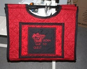 Born to Shop Large Quilted Machine Embroidered Tote