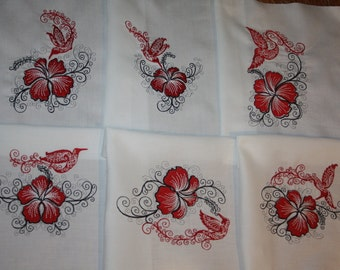 Red Hummingbirds and Hibiscus Machine Embroidered Quilt Blocks Set A