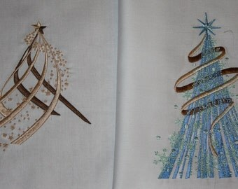 Holiday Delight Trees Machine Embroidered Quilt Blocks Set A