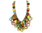 Color Explosion - Vintage 80s Statement Necklace, Modernist Tribal Runway Bib, Slag Glass Discs & Rings on Leather Cord, Dramatic
