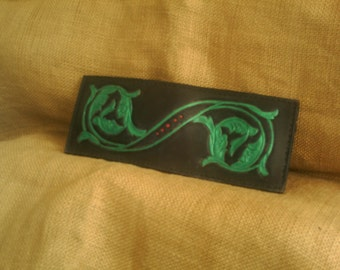 Handmade Leather Wallet Black and Emerald Green