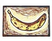 """Banana - Original linocut print 6"""" x 8"""" print"""