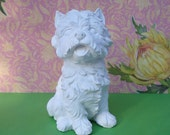 Sitting Terrier DIY Unfinished Ready to Paint Dog Plaster Craft Figurine