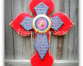 Wall Cross - Wood Cross - Military - Medium - United States MARINES, USMC (can be made in any branch)
