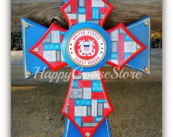 Wall Cross - Military - X-Small - US Coast Guard, USCG (can be made in any branch)