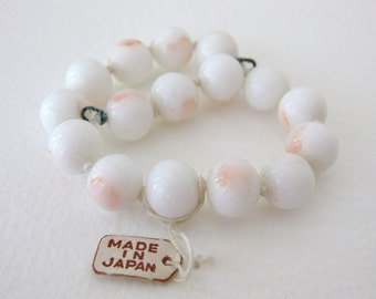 Vintage Japanese Beads Glass Angelskin Coral White Blush Knotted Strand Bracelet Finding 10mm vgb0596 (1 strand, 15 beads)