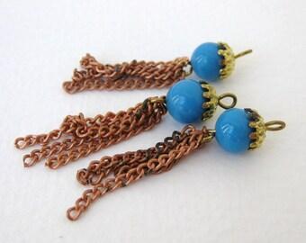 Vintage Glass Bead Drop Turquoise Blue Tassel Charm Brass Copper Chain chm0201 (6)