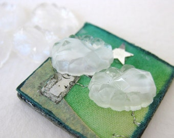Vintage Glass Cabochon Clear White Givre Crystal Bumpy Faceted 14x10mm gcb0848 (6)
