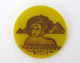 Vintage Egyptian Revival Glass Cabochon Yellow Brown Sphinx 32mm gcb0882 (1)