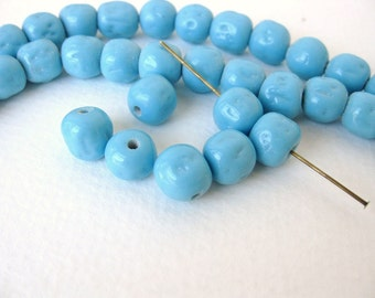 Vintage Japanese Beads Cherry Brand Blue Turquoise Glass Baroque Rounds 10mm vgb0738 (6)