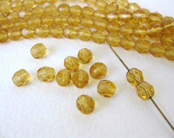 Vintage Beads Topaz Glass Gold Faceted Transparent Czech Round 6mm vgb0670 (30)