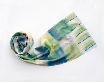 Handwoven cotton scarf. Unisex long scarf paint by hand. Lime green, grey and aqua men scarf. Abstract painting on pure cotton.