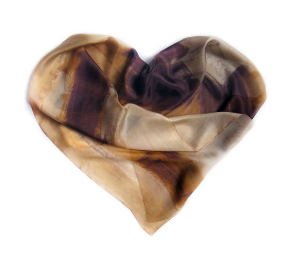 Hand painted scarf. Sands and Chocolate silk scarf. Heart silk scarf. Long fashion handpainted scarf. Painting on silk .RESERVE for Karolina