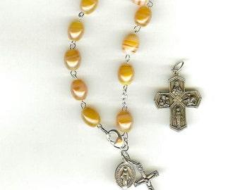 Handmade Cantaloupe Rosary Bracelet