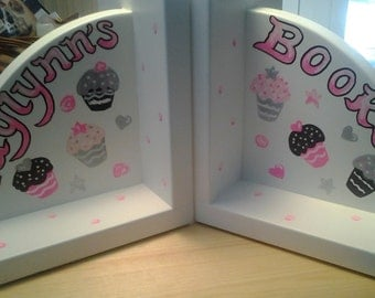 Childrens Bookends Cupcake Design Handpainted Personalized Pink Black Grey