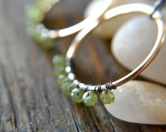 Gemstone earrings, wire wrapped peridot, brass hoops, green and gold, boho jewelry - Fireworks