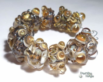 CARMELITAS Lampwork Beads Handmade Ivory Tans Browns Topaz Silver  Bold and Textured  Set of 11