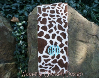 Embroidered Giraffe Print Kitchen Towel Personalized Monogrammed