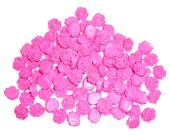 Hot Pink Rose Flat Back Cabochons 13mm (pack of 50)