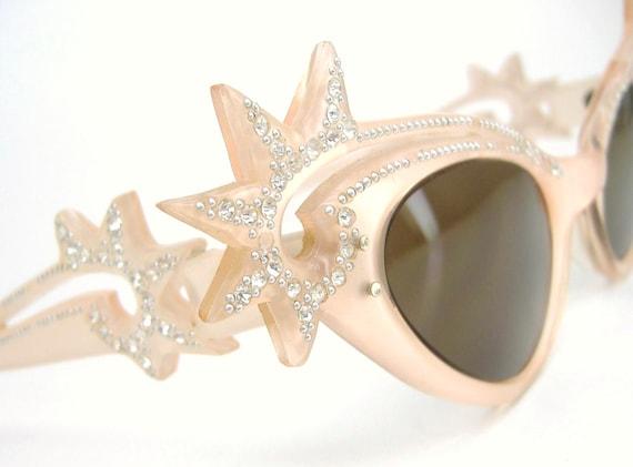 Vintage Starburst Cat Eye Sunglasses 1950s 60s Wild Rhinestone Frame SALE