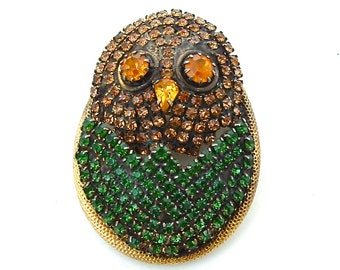 HOBE Rhinestone Brooch Pendant Vintage Rhinestone Jewelry Bird Amber Forest Green Necklace