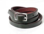 Green Leather Bracelet Wrap Bracelet Leather Cuff  with Buckle Clasp