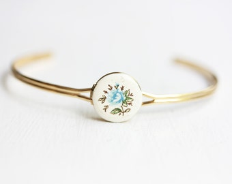 Blue Flower Locket Bracelet