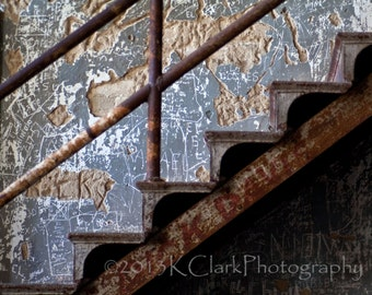 Graffiti Stair Fine Art Photography Photography Industrial Edge Home Decor Rust Blue Iron Rustic Art Jailhouse chic Unique art industrial