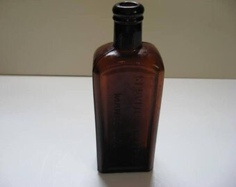 Glovers Imperial Mange Cure Brown Amber Antique Bottle Free Shipping