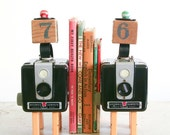 Vintage Camera Bookends / Found Objects Art Assemblage / Recycled Vintage Parts