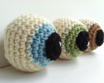 Amigurumi Crochet Zombie Eyeball Plush Toy (Blue, Green, & Tan) - Set of 3 Halloween Decor Gift Under 25 Plushie Eyeballs Stuffed Toys