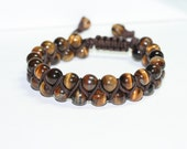 Tigers Eye Double-Row Shamballa Gemstone Bracelet