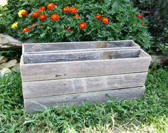 Rustic Wedding -  6 Long Table Centerpiece Boxes - Reclaimed Fence Wood - 24in Long Centerpieces