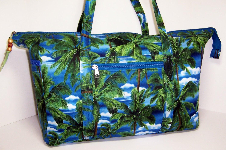 Palm Trees Large Handmade Tote Bag Zippered Beach Bag