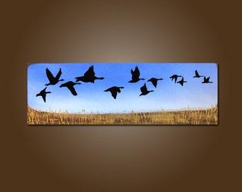 custom - Original Acrylic Earthy Nature Bird Geese Prairie Field Contemporary PAINTING by Shanna - 36 x 12 - In the Prairies