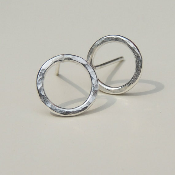 Silver Open Circle Post Earrings Hammered Sterling Silver