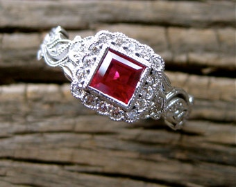 Red Ruby Engagement Ring in 18K White Gold with Diamonds in Flower Blossoms and Leafs on Vine Floral Motif Size 7
