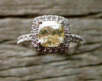 Champagne Ocher Sapphire Engagement Ring with Diamonds in 18K White Gold Size 7