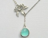 Silver Lotus Flower and Aqua Lariat Necklace - Mint Blue Lariat Necklace - Bridesmaid Gift - Boho Chic Necklace