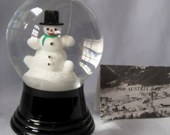 Vintage Austrian Perzy Glass Snowglobe Snowdome Snowman with BalloonTop Hat
