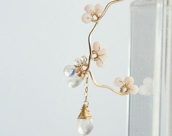 Cherry Blossom Earrings, Rose Quartz Jewelry, Sakura Earrings, Bridal Wedding