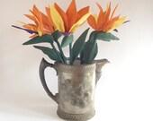 Bird of paradise five flowers strelitzia crane flower fabric soft sculpture handmade