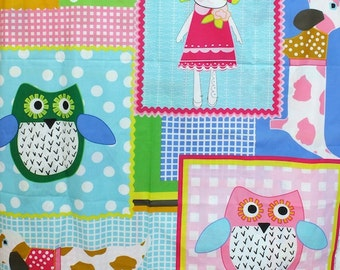 Lovely Pink and Green Hoot Owl Dog Puppy Girl Check Polka Dots Patchwork - Cotton Quilting Blanket Fabric (1 Panel, 39x43 Inches)