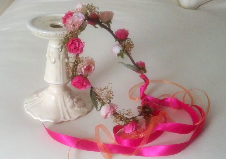 Bridal Flower Wreath For Hair : Bridal flower crown coral hot pink dried floral hair wreath