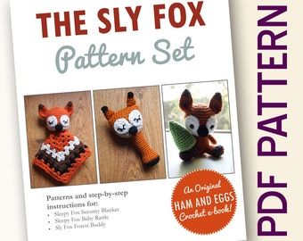 Amigurumi Crochet Sly Fox PDF Pattern Set Security Blanket Baby Rattle Toy Bargain Deal