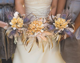 Vintage Feathers and Flowers Bouquet