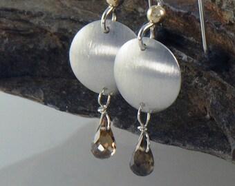 Whiskey Sapphire Earrings, Eco Friendly Silver Earrrings, Gemstone Earrings
