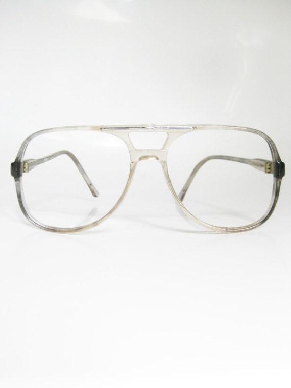1970s Blue Eyeglasses Vintage Aviator Frames by OliverandAlexa